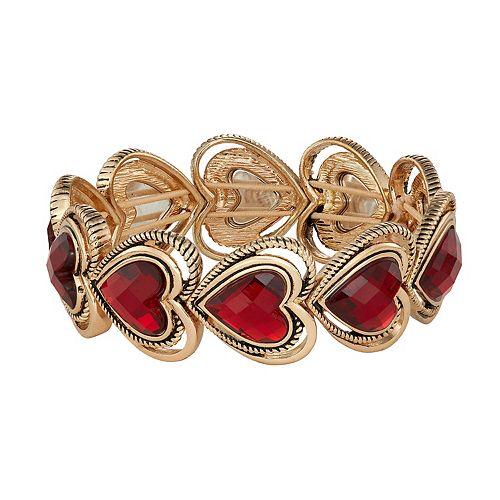 Dana Buchman Gold Tone Heart Stretch Bracelet