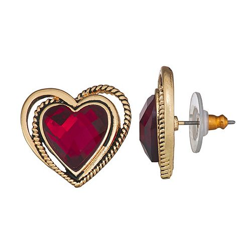 Dana Buchman Gold Tone Textured Heart Stud Earrings