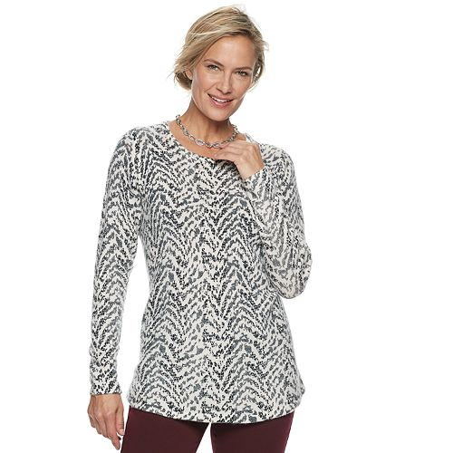 Petite Croft & Barrow® Patterned Pullover Sweater
