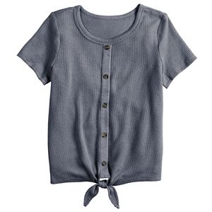 Girls 7-16 & Plus Size Mudd Tie-Front Button-Up Thermal Tee