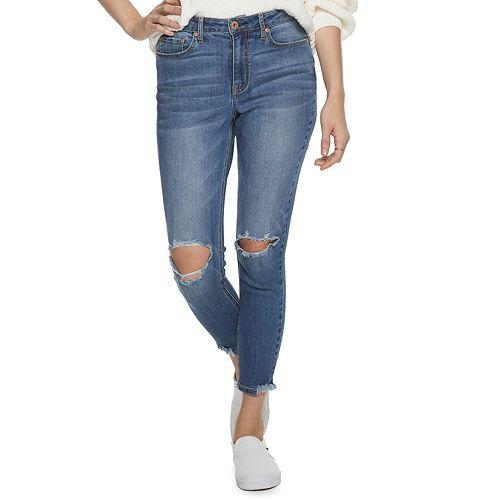 Juniors' American Rag High Rise Chewed Hem Skinny Jeans