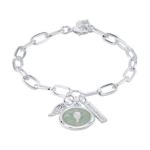 LovethisLife® Cubic Zirconia Wing & Bar Charm Bracelet