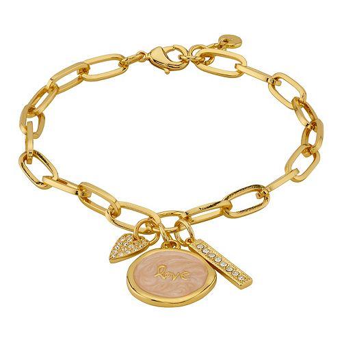 """LovethisLife® """"Love"""" Cubic Zirconia Heart & Bar Charm Bracelet"""