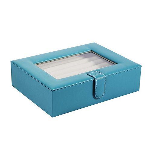 Mele Designs Peri Glass Top Jewelry Box in Turquoise