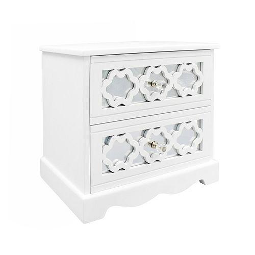 White Mirrored 2-Drawer Jewelry Box