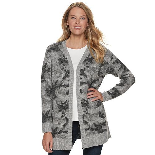 Petite SONOMA Goods for Life™ Camouflage Open Front Cardigan