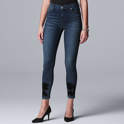 Petite Simply Vera Vera Wang Flocked Applique Skinny Jeans