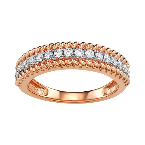 Simply Vera Vera Wang 14k Rose Gold 1/3 Carat T.W. Diamond Wedding Ring