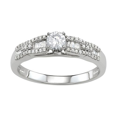 Simply Vera Vera Wang 14k White Gold 1/2 Carat T.W. Diamond Engagement Ring