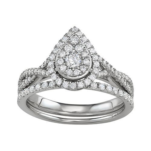 Simply Vera Vera Wang 14k White Gold 3/4 Carat T.W. Diamond Teardrop Engagement Ring Set