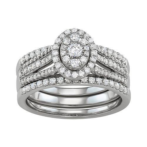 Simply Vera Vera Wang 14k White Gold 3/4 Carat T.W. Diamond Cluster Engagement Ring Set