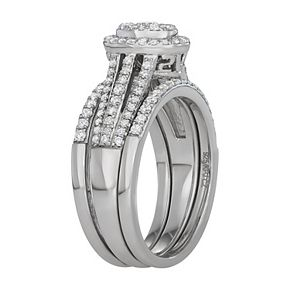 Simply Vera Vera Wang 14k White Gold 3/4 Carat T.W. Diamond Cluster Engagement Ring Set