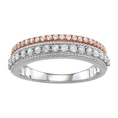 Simply Vera Vera Wang Two Tone 14k Gold 1/2 Carat T.W. Diamond Multi Row Ring