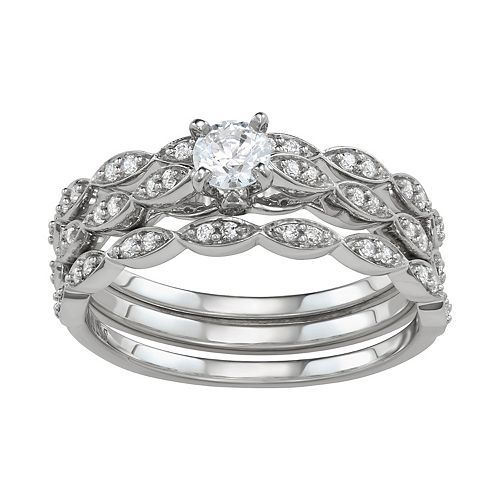 Simply Vera Vera Wang 14k White Gold 1/2 Carat T.W. Diamond Engagement Ring Set