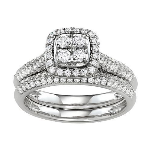 Simply Vera Vera Wang 14k White Gold 3/4 Carat T.W. Diamond Cushion Halo Engagement Ring Set