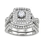 Simply Vera Vera Wang 14k White Gold 1 Carat T.W. Diamond Halo Engagement Ring Set