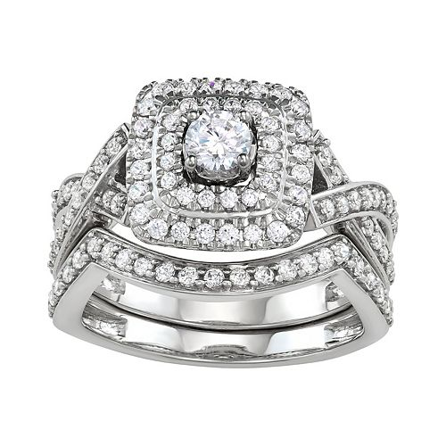 Simply Vera Vera Wang 14k White Gold 1 Carat T.W. Diamond Halo Engagement Ring Set