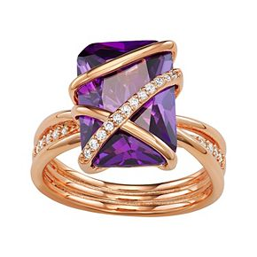 Rose-Gold Plated Amethyst Color Morganite Ring