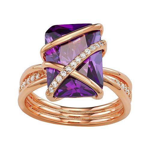 Rose-Gold Tone Amethyst Color Morganite Ring