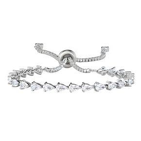 Sterling Silver Cubic Zirconia Pear-Cut Bolo Bracelet