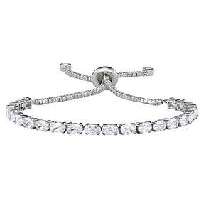 Sterling Silver Cubic Zirconia Oval-Cut Adjustable Bracelet