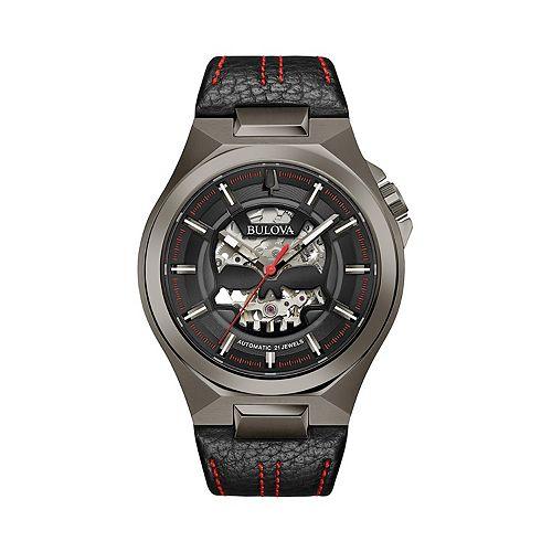 Bulova Men's Automatic Leather Watch - 98A237