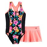 Girls 7-16 & Plus Size ZeroXposur Desert Rose 1-Piece and Cover-Up Skirt Swimsuit Set