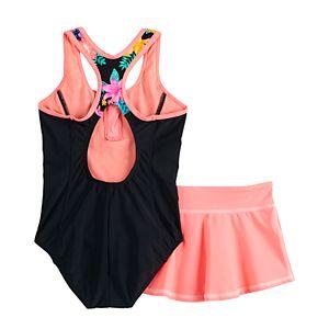 Girls 7-16 & Plus Size ZeroXposur Desert Rose 1-Piece and Cover-Up Skirt Swimsuit Set