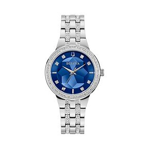 Bulova Women's Crystal Accent Stainless Steel Faceted Dial Watch - 96L276