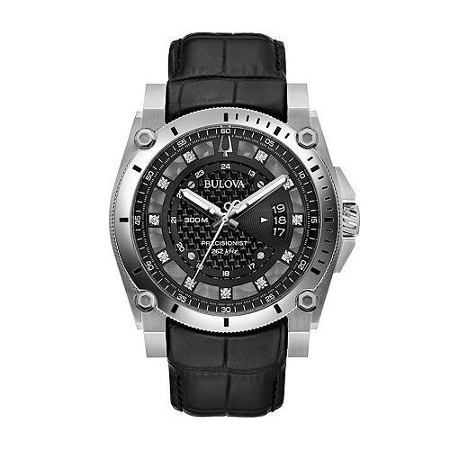 Bulova Men's Precisionist Diamond Accent Leather Watch - 96D147