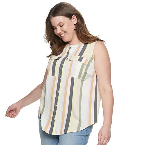 Plus Size EVRI Button Front Sleeveless Utility Shirt