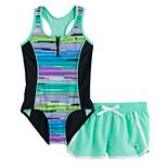 Girls 7-16 & Plus Size ZeroXposur Zion Zenith 1-Piece and Cover-Up Shorts Swimsuit Set