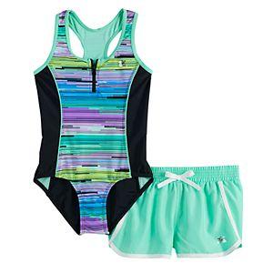 Girls 7-16 & Plus Size ZeroXposur Zion Zenith 1-Piece and Cover-Up Shorts Swimsuit Set