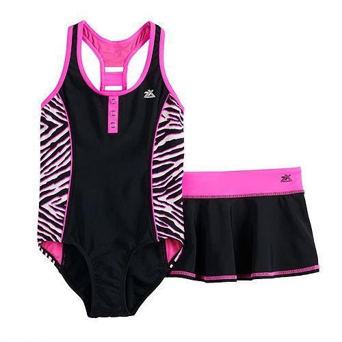 Girls 7-16 ZeroXposur Tiger Stripes 1-Piece & Cover-Up Skirt