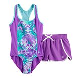 Girls 7-16 ZeroXposur Rainforest Riot 1-Piece & Cover-Up Shorts Swimsuit Set