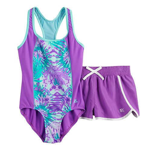 Girls 7-16 ZeroXposur Purple Pattern 1-Piece & Cover-Up Shorts Swimsuit Set
