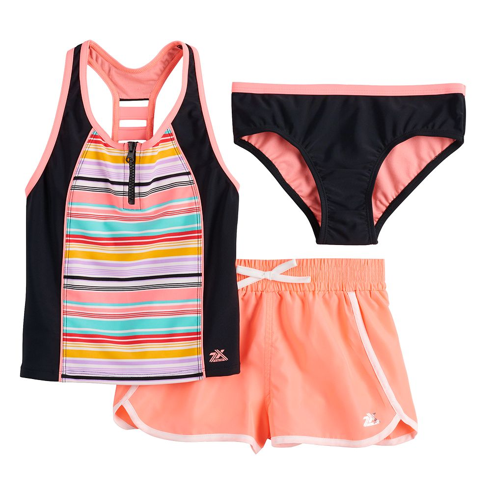 Girls 7-16 ZeroXposur Cabana Caper Tankini, Bottoms & Shorts Swimsuit Set