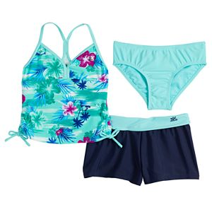 Girls 7-16 ZeroXposur Haven On Earth Tankini, Bottoms & Cover-Up Shorts Swimsuit Set