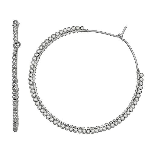 SONOMA Goods for Life™ Silver Tone Beaded Wrapped Hoop Earrings