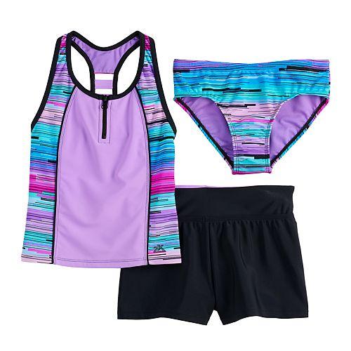 Girls 7-16 & Plus Size ZeroXposur Zion Zenith Tankini, Bottoms & Shorts Swimsuit Set
