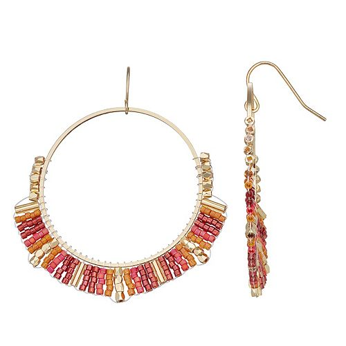 SONOMA Goods for Life™ Seed Bead Wrapped Hoop Drop Earrings