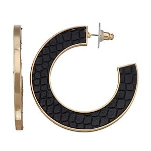 SONOMA Goods for Life Leather Inlayed Hoop Earrings