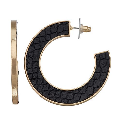 SONOMA Goods for Life™ Leather Inlayed Hoop Earrings