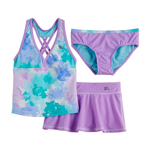 Girls 7-16 ZeroXposur Cotton Candy Tankini, Bottoms & Cover-Up Skirt