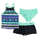 Girls 7-16 ZeroXposur Fun Geo Pattern Tankini, Bottoms & Cover-Up Shorts Swimsuit Set
