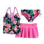 Girls 7-16 ZeroXposur Desert Rose Tankini, Bottoms & Cover-Up Skirt Swimsuit Set