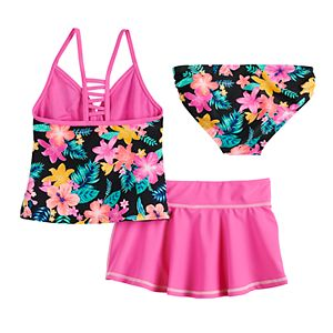 Girls 7-16 ZeroXposur Desert Rose Tankini, Bottoms & Cover-Up Skirt Swimsuit Set