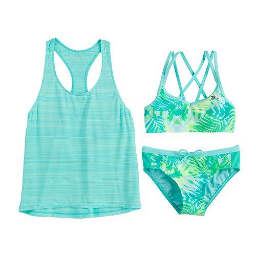 Girls 7-16 ZeroXposur Aqua Paradise Tank, Top & Bottoms Swimsuit Set
