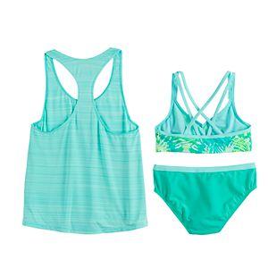 Girls 7-16 ZeroXposur Rainforest Riot Tank, Top & Bottoms Swimsuit Set