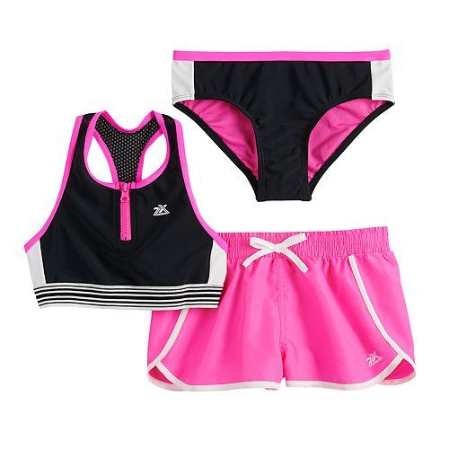 Girls 7-16 ZeroXposur Wave Runner Top, Bottoms & Cover-Up Shorts